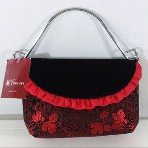 Yans NY Velvet Floral Print Bag